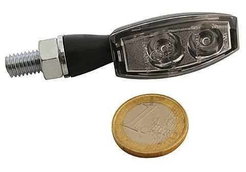 Mini LED Blinker BLAZE, schwarzes Metallgehäuse, klares Glas, Paar, E-geprüft