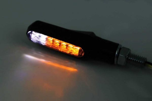 LED Blinker SHORTY FIN, getöntes Glas